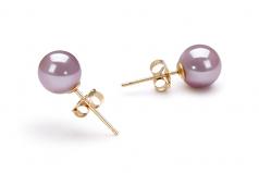 Lavanda 6-6.5mm Calidad AAAA Conjunto de Perlas de Agua Dulce y Lleno de oro