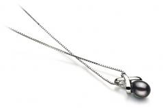 Emperatriz Negro 7-8mm Calidad AA Colgante de Perla de Agua Dulce y Plata esterlina 925