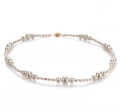 Ida Blanco 3-8mm Calidad A Collar de Perlas de Agua Dulce y Lleno de oro