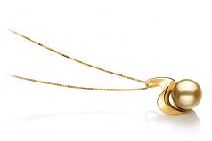 Rosalie Oro 10-11mm Calidad AA Colgante de PerlaMar del Sur y Oro amarillo 14K