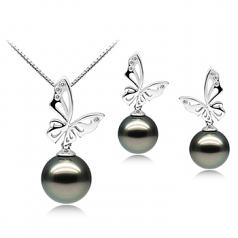 Perlas negras Mariposa Negro 10-12mm Calidad AAA Conjunto de Perlas Tahití y Oro blanco 14K