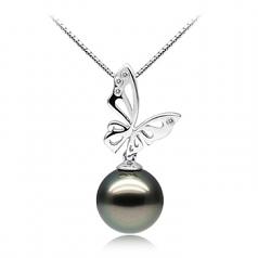 Perla negra Mariposa Negro 11-12mm Calidad AAA Colgante de Perla Tahití y Oro blanco 14K