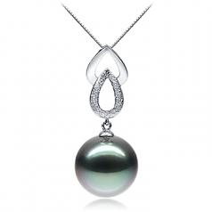 Perla negra Gota de agua. Negro 11-12mm Calidad AAA Colgante de Perla Tahití y Oro blanco 14K