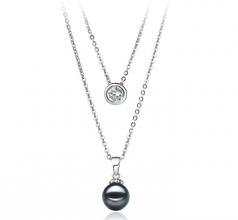 Ramona Negro 7-8mm Calidad AA Collar de Perlas Akoya Japonesa y Plata esterlina 925