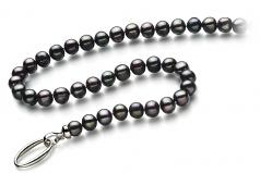 Joyce Negro 8-9mm Calidad A Collar de Perlas de Agua Dulce y Plata esterlina 925