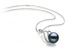 Tracy Negro 12-13mm Calidad AA Colgante de Perla de Agua Dulce y Plata esterlina 925