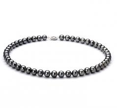 Negro 7.5-8.5mm Calidad AA Collar de Perlas de Agua Dulce y Plata esterlina 925