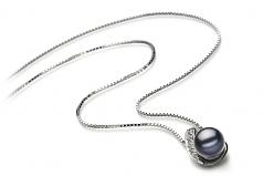 Claudia Negro 7-8mm Calidad AA Colgante de Perla de Agua Dulce y Plata esterlina 925