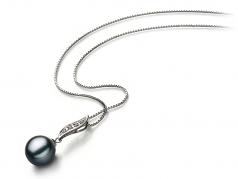 Alicia Negro 9-10mm Calidad AA Colgante de Perla de Agua Dulce y Plata esterlina 925