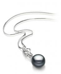 Naomi Negro 9-10mm Calidad AA Colgante de Perla de Agua Dulce y Plata esterlina 925