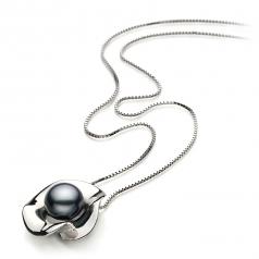 Rocio Negro 9-10mm Calidad AA Colgante de Perla de Agua Dulce y Plata esterlina 925