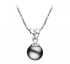 Sally Negro 9-10mm Calidad AA Colgante de Perla de Agua Dulce y Plata esterlina 925