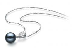 Daria Negro 7-8mm Calidad AAAA Colgante de Perla de Agua Dulce y Plata esterlina 925