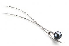 Destina Negro 7-8mm Calidad AAAA Colgante de Perla de Agua Dulce y Plata esterlina 925