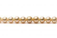 18 pulgadas Oro 9.3-13.2mm Calidad AA+ Collar de PerlasMar del Sur y Oro amarillo 14K
