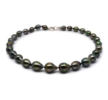 17 pulgadas Negro Carmesí 9-12mm Calidad Barroco Collar de Perlas Tahití y Plata esterlina 925