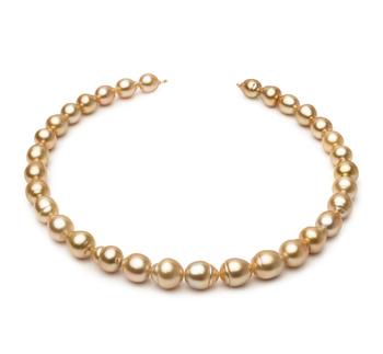 18 pulgadas Oro 10.1-12.5mm Calidad Barroco Collar de PerlasMar del Sur y Oro amarillo 14K