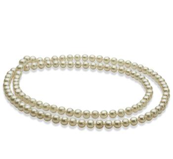 76,2 centímetros Blanco 6-7mm Calidad AA Collar de Perlas de Agua Dulce y sin tipo de metal