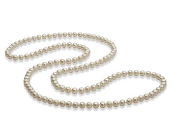 76.2 cm Blanco 5-6mm Calidad AAA Collar de Perlas de Agua Dulce y sin tipo de metal