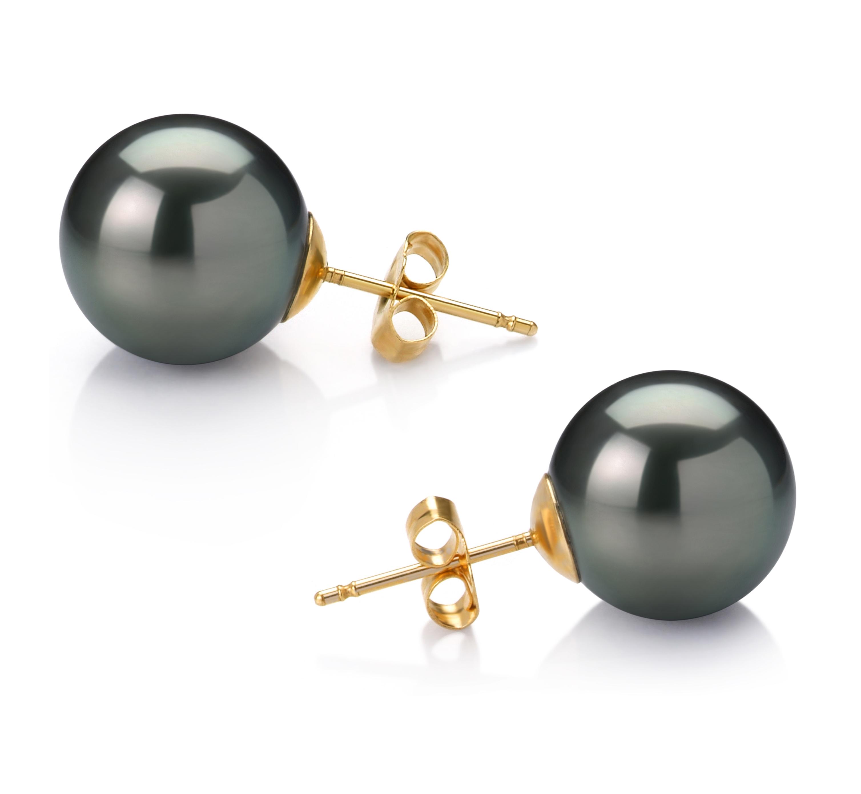 Negro 12-13mm Calidad AAA Pendientes de Perlas Tahití y Oro amarillo 14K