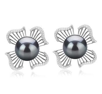 Abigail Negro 10-11mm Calidad AAA Pendientes de Perlas Tahití y Plata esterlina 925