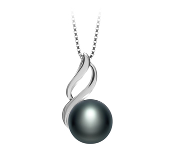 Adalia Negro 10-11mm Calidad AAA Colgante de Perla de Agua Dulce y Plata esterlina 925