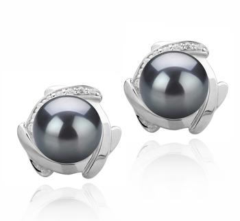 Alba Negro 8-9mm Calidad AAAA Pendientes de Perlas de Agua Dulce y Plata esterlina 925