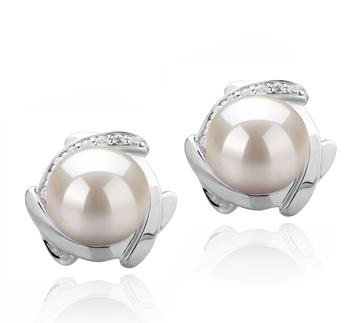 Alba Blanco 8-9mm Calidad AAAA Pendientes de Perlas de Agua Dulce y Plata esterlina 925