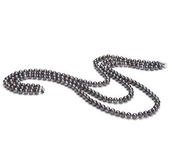 Aline Negro 6-7mm Calidad AA Collar de Perlas de Agua Dulce