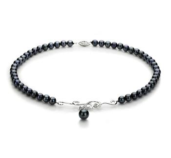 Almira Negro 6-9mm Calidad AA Collar de Perlas Akoya Japonesa y Plata esterlina 925