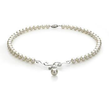Almira Blanco 6-10mm Calidad AA Collar de Perlas de Agua Dulce y Plata esterlina 925