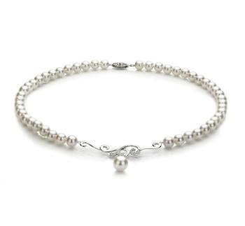 Almira Blanco 6-9mm Calidad AA Collar de Perlas Akoya Japonesa y Plata esterlina 925
