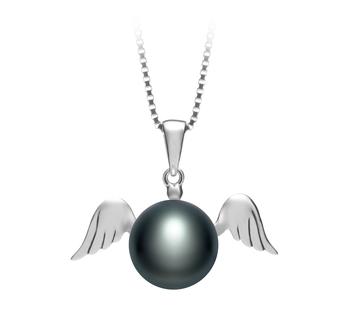 Ángel Negro 9-10mm Calidad AA Colgante de Perla de Agua Dulce y Plata esterlina 925