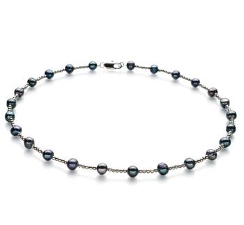 Atina Negro 6-7mm Calidad A Collar de Perlas de Agua Dulce