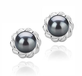 Bessie Negro 8-9mm Calidad AAAA Pendientes de Perlas de Agua Dulce y Plata esterlina 925