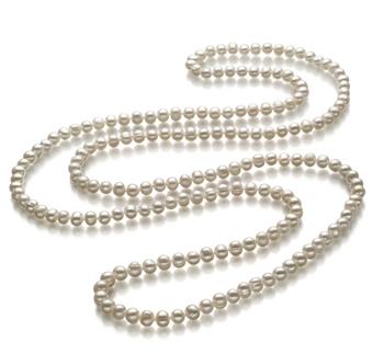Betty Blanco 6-7mm Calidad A Collar de Perlas de Agua Dulce y sin tipo de metal
