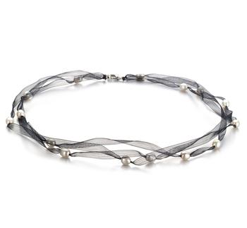 Jasmine negro Blanco 5-6mm Calidad A Collar de Perlas de Agua Dulce
