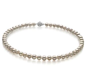 Bliss Blanco 6-7mm Calidad A Collar de Perlas de Agua Dulce