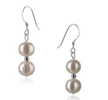 Cerella Blanco 6-7mm Calidad A Pendientes de Perlas de Agua Dulce y Plata esterlina 925