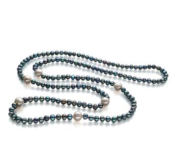 Chloe Negro y Blanco 6-11mm Calidad A Collar de Perlas de Agua Dulce y sin tipo de metal