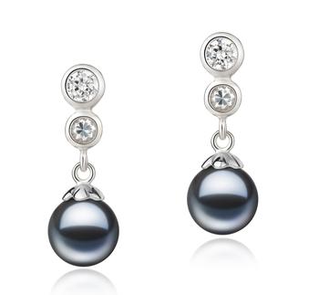Colleen Negro 7-8mm Calidad AAAA Pendientes de Perlas de Agua Dulce y Plata esterlina 925