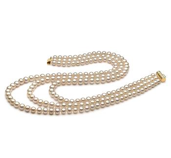 Dianna Blanco 6-7mm Calidad AA Collar de Perlas de Agua Dulce