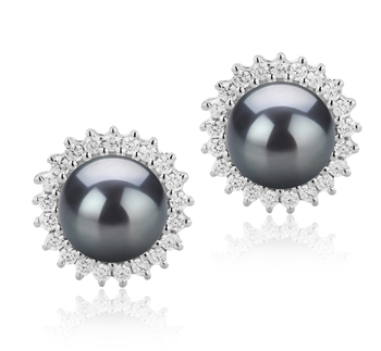 DREAMA Negro 7-8mm Calidad AAAA Pendientes de Perlas de Agua Dulce y Plata esterlina 925