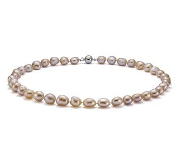 De la gota Rosa 10-11mm Calidad Barroco Collar de Perlas de Agua Dulce y Plata esterlina 925
