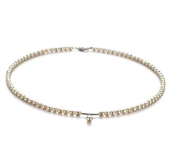 Drop Blanco 3-4mm Calidad A Collar de Perlas de Agua Dulce