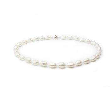 Drop Blanco 10-11mm Calidad Barroco Collar de Perlas de Agua Dulce y Plata esterlina 925