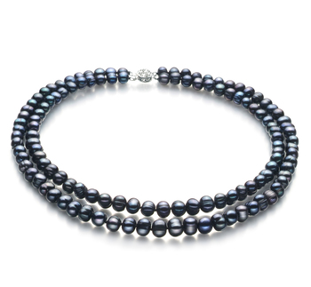 Eliana Negro 6-7mm Calidad A Collar de Perlas de Agua Dulce