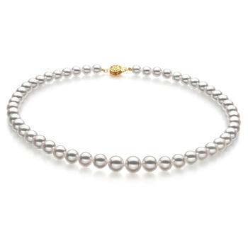 Blanco 6-9mm Calidad Hanadama - AAAA Collar de Perlas Akoya Japonesa y Oro amarillo 14K