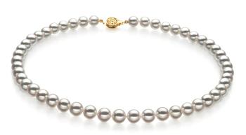 Blanco 7.5-8mm Calidad Hanadama - AAAA Collar de Perlas Akoya Japonesa y Oro amarillo 14K