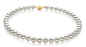Blanco 8.5-9mm Calidad Hanadama - AAAA Collar de Perlas Akoya Japonesa y Oro amarillo 14K